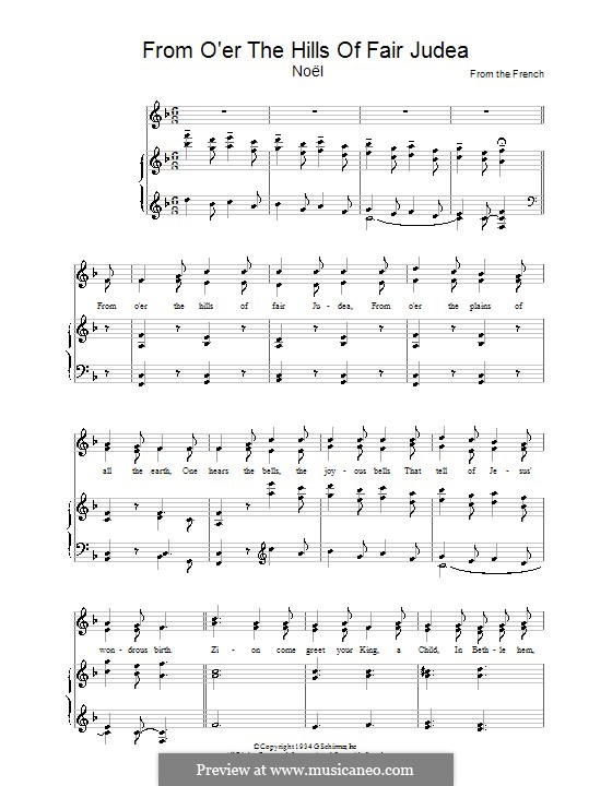 From O'er the Hills of Fair Judea: For voice and piano by folklore