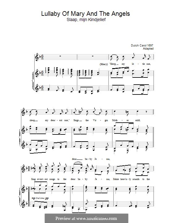 Lullaby of Mary and The Angels: For voice and piano by folklore
