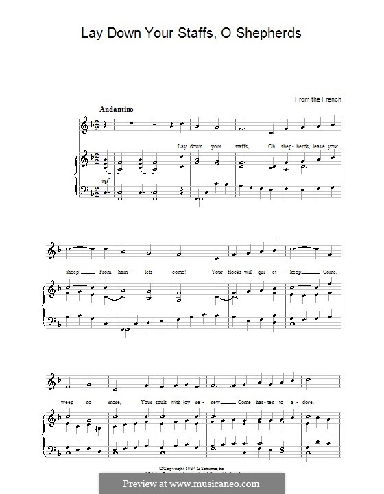Lay Down Your Staffs, O Shepherds: For voice and piano by folklore
