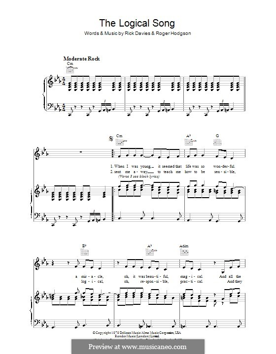 The Logical Song (Supertramp): For voice and piano (or guitar) by Rick Davies, Roger Hodgson