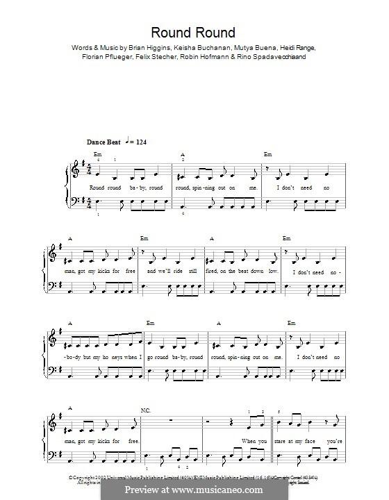 Round Round (Sugababes): For easy piano by Brian Higgins, Felix Stecher, Florian Pflueger, Heidi Range, Keisha Buchanan, Mutya Buena, Rino Spadavecchia, Robin Hofmann