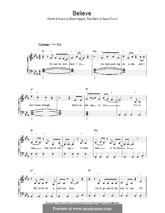 Believe (Cher): For easy piano by Brian Higgins, Paul Barry, Stephen Torch