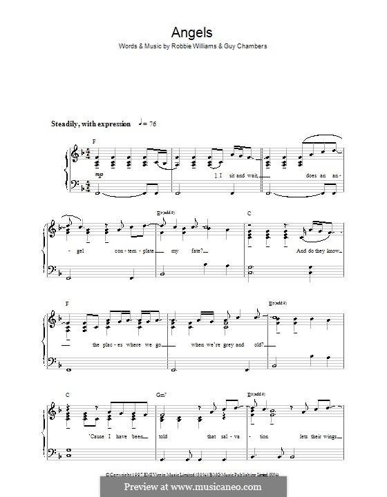 Angels: For easy piano by Guy Chambers, Robbie Williams