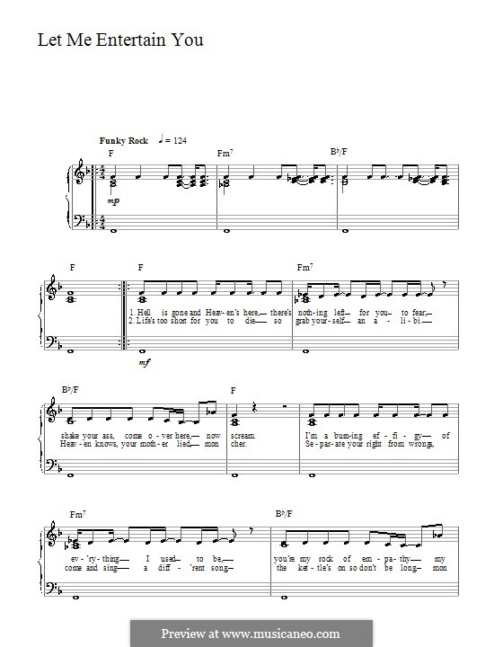 Let Me Entertain You: For easy piano by Guy Chambers, Robbie Williams