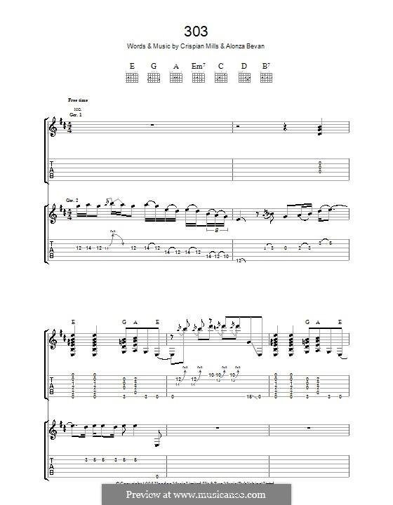 303 (Kula Shaker): For guitar with tab by Alonza Bevan, Crispian Mills