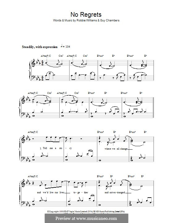 No Regrets: For easy piano by Guy Chambers, Robbie Williams
