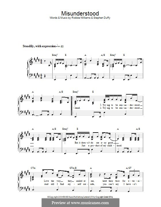 Misunderstood: For easy piano by Stephen Duffy