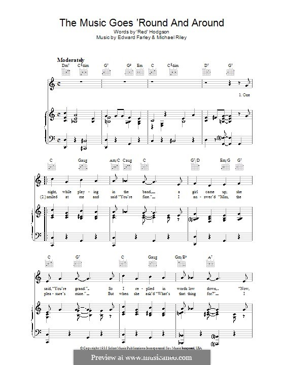 The Music Goes Round and Around (Tommy Dorsey): For voice and piano (or guitar) by Edward Farley, Michael Riley