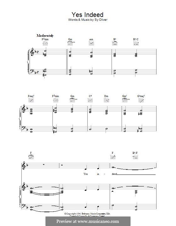 Yes Indeed (Frank Sinatra): For voice and piano (or guitar) by Sy Oliver