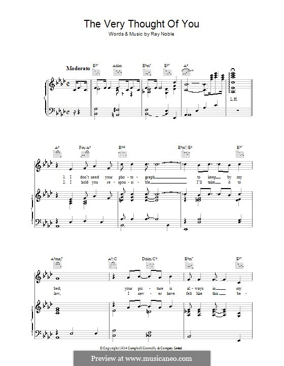 The Very Thought of You: For voice and piano (or guitar) by Ray Noble