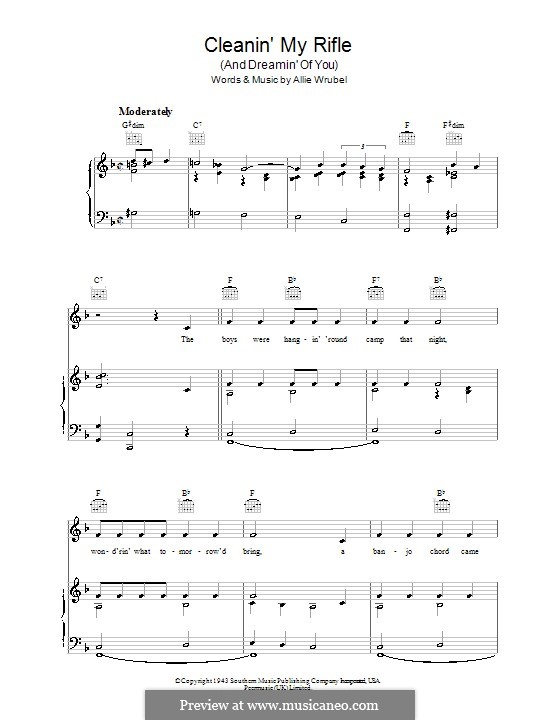 Cleanin' My Rifle (And Dreamin' of You): For voice and piano (or guitar) by Allie Wrubel