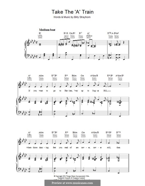Take the 'A' Train (Duke Ellington): For voice and piano or guitar (A Flat Major) by Billy Strayhorn