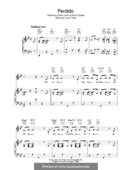 Perdido (Duke Ellington): For voice and piano (or guitar) by Juan Tizol