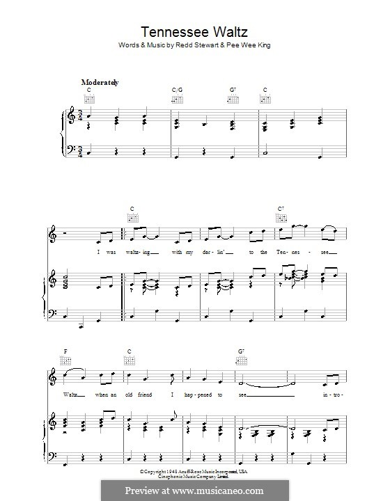Tennessee Waltz (Patty Page): For voice and piano (or guitar) by Pee Wee King, Redd Stewart