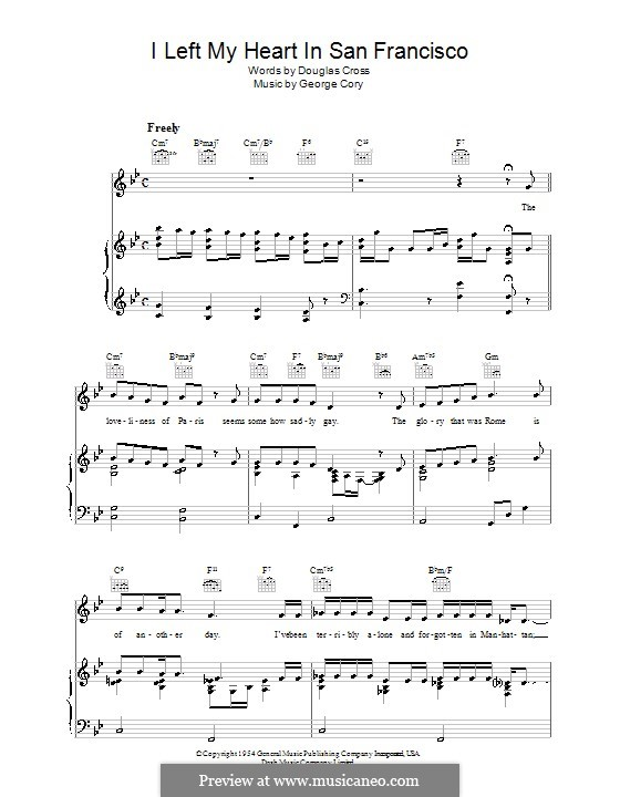 I Left My Heart in San Francisco by G. Cory - sheet music on MusicaNeo