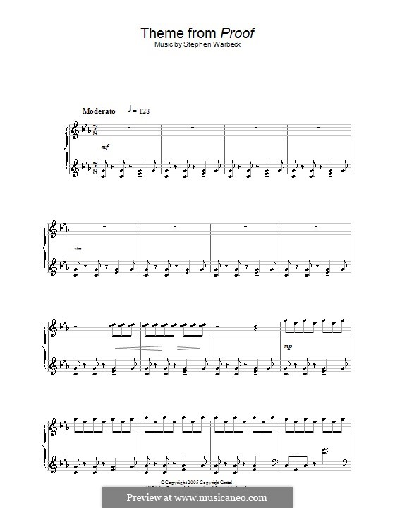 Theme from Proof: For piano by Stephen Warbeck