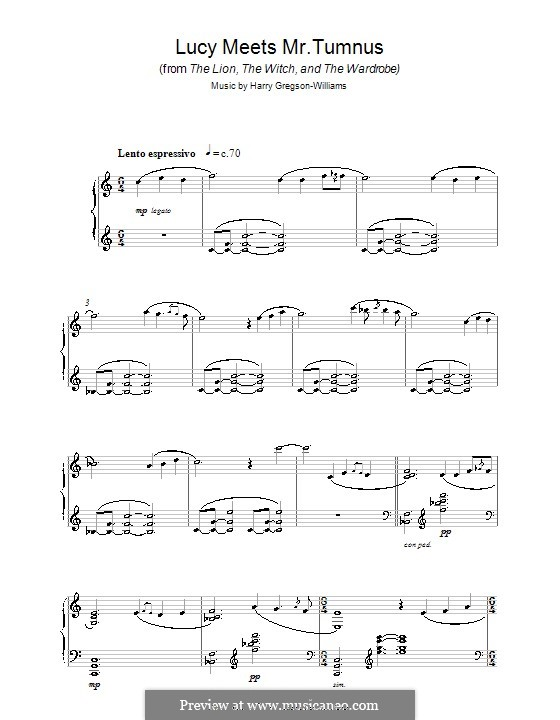 Lucy Meets Mr. Tumnus (from The Chronicles of Narnia: The Lion, The Witch and The Wardrobe): For piano by Harry Gregson-Williams