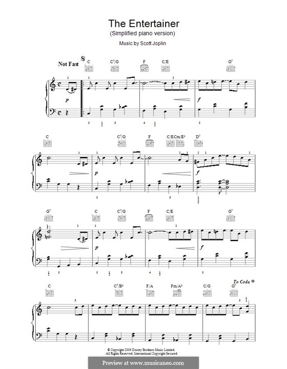 The Entertainer, for Piano: Easy version with fingering by Scott Joplin