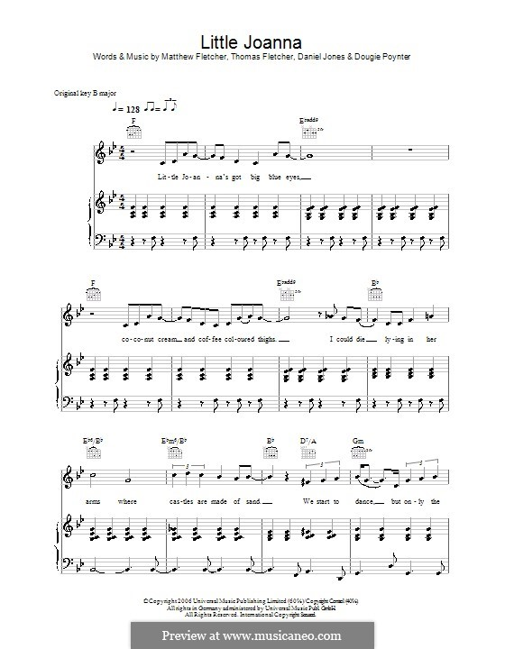 Little Joanna (McFly): For voice and piano (or guitar) by Tom Fletcher, Danny Jones, Dougie Poynter, Matthew Fletcher