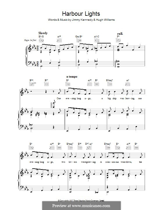 Harbor Lights (The Platters): For voice and piano (or guitar) by Hugh Williams, Jimmy Kennedy
