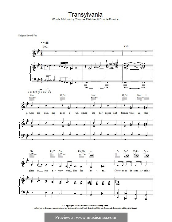 Transylvania (McFly): For voice and piano (or guitar) by Tom Fletcher, Dougie Poynter