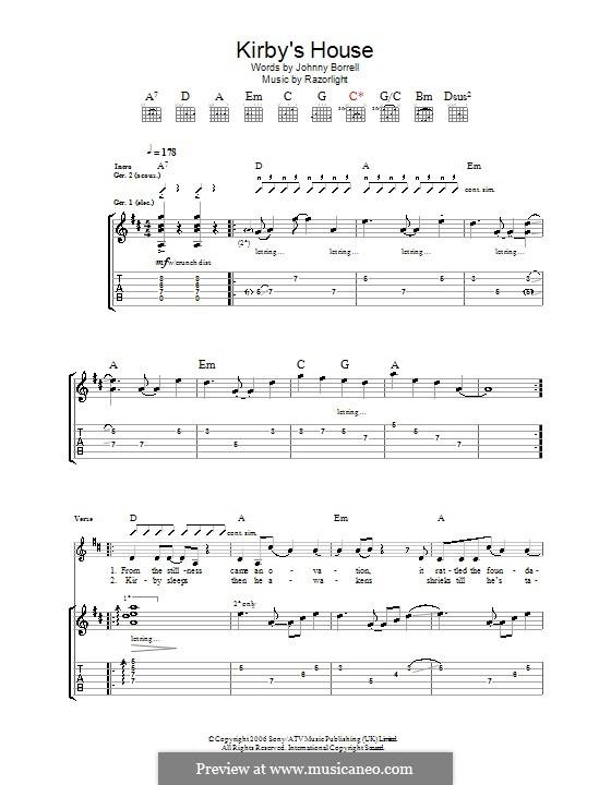 Kirby's House (Razorlight): For guitar with tab by Johnny Borrell