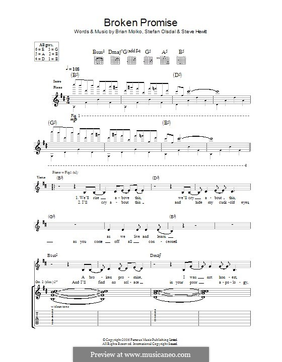 Broken Promise (Placebo): For guitar with tab by Brian Molko, Stefan Olsdal, Steve Hewitt