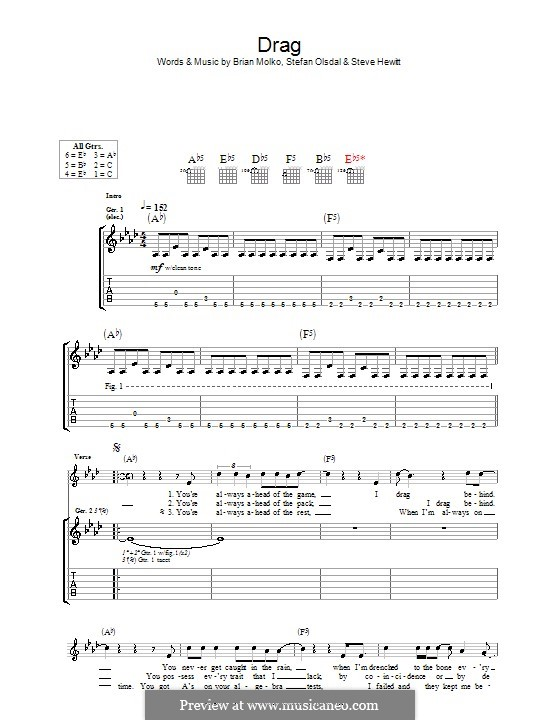 Drag (Placebo): For guitar with tab by Brian Molko, Stefan Olsdal, Steve Hewitt