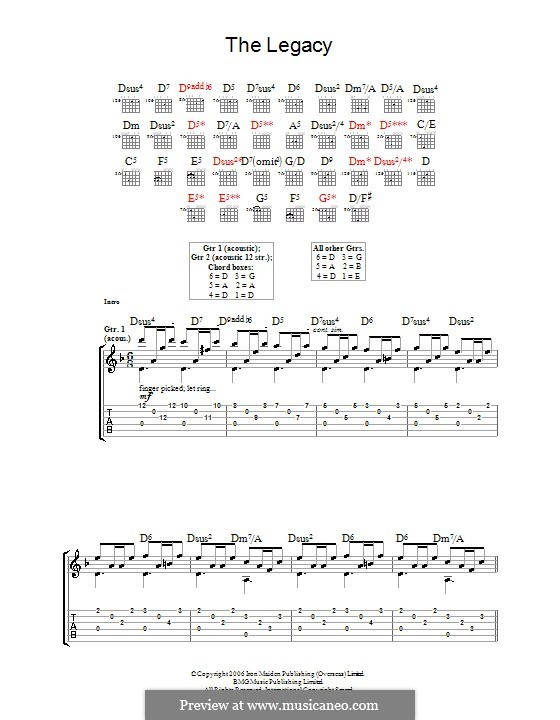 The Legacy (Iron Maiden): For guitar with tab by Janick Gers, Steve Harris
