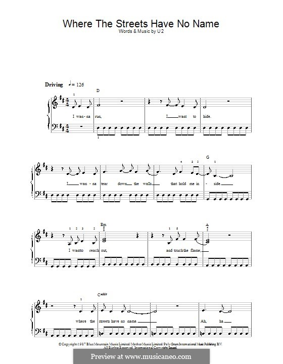 Where the Streets Have no Name: For easy piano by U2
