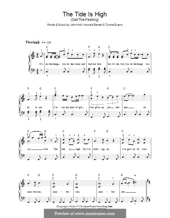 The Tide is High (Blondie): For easy piano by Howard Barrett, John Holt, Tyrone Evans