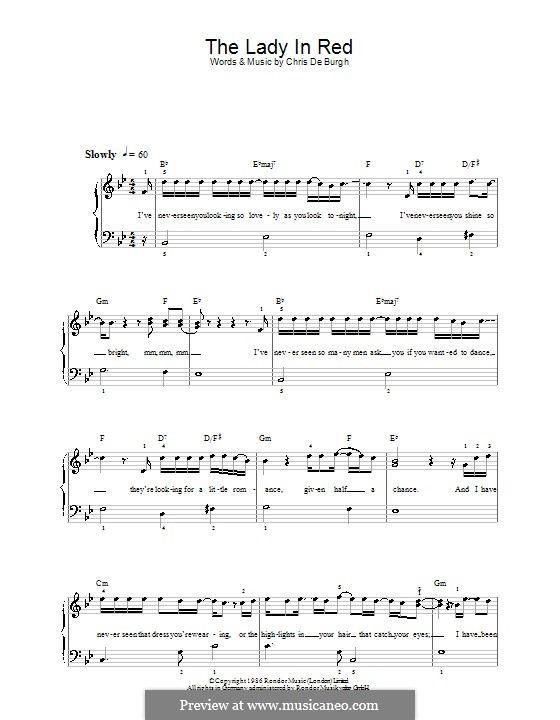 The Lady in Red: For easy piano by Chris de Burgh