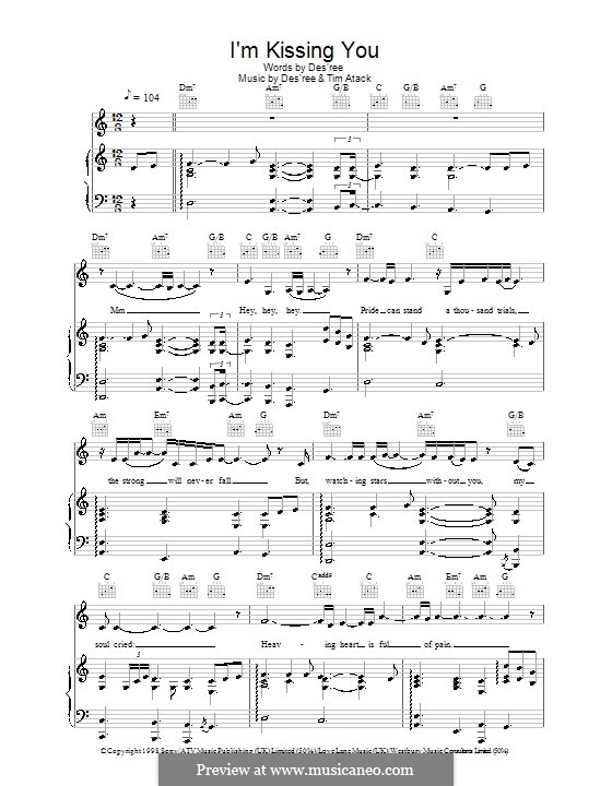 I\'m Kissing You by Des\'ree, T. Atack - sheet music on MusicaNeo
