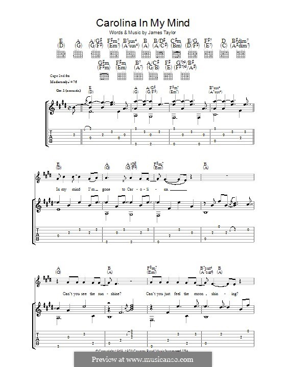 Carolina in My Mind: For guitar with tab by James Taylor