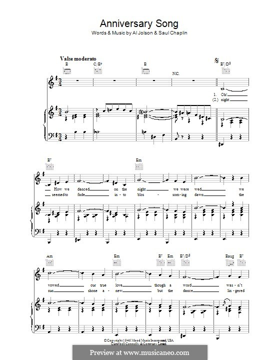 Anniversary Song: For voice and piano (or guitar) by Saul Chaplin