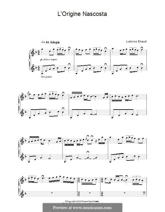 L'origine nascosta: For piano by Ludovico Einaudi