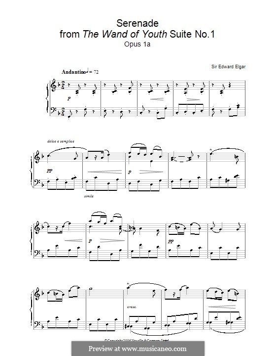The Wand of Youth. Suite No.1, Op.1a: No.2 Serenade, for piano by Edward Elgar