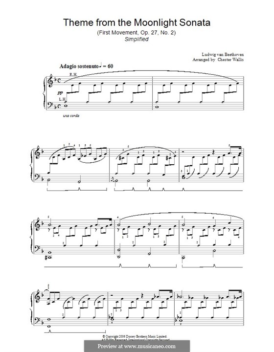 Movement I (Printable scores): For easy piano (D Minor) by Ludwig van Beethoven