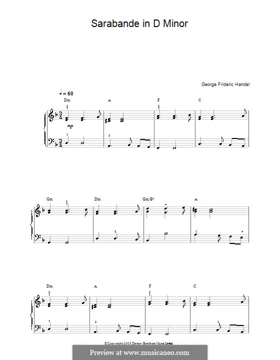 Suite No.4 in D Minor, HWV 437: Sarabande, for easy piano by Georg Friedrich Händel