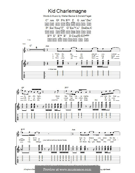Kid Charlemagne (Steely Dan): For guitar with tab by Donald Fagen, Walter Becker