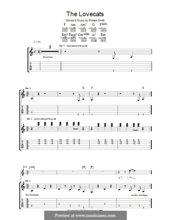 The Lovecats (The Cure): For guitar with tab by Robert Gary Smith