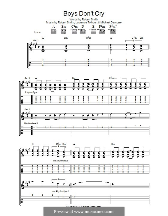 Boys Don't Cry (The Cure): For guitar with tab by Laurence Tolhurst, Michael Dempsey, Robert Gary Smith