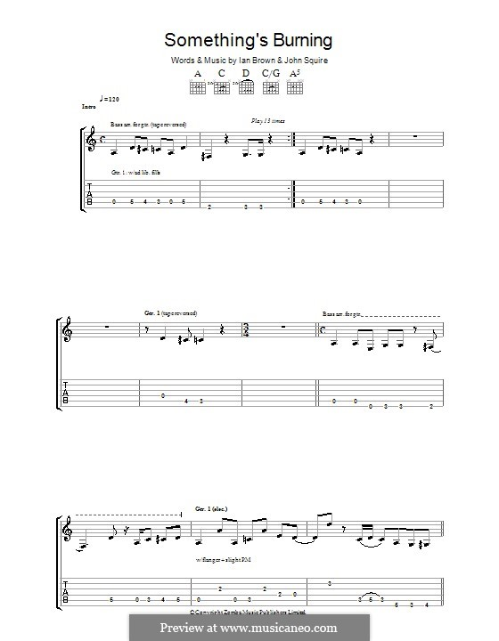 Something's Burning (The Stone Roses): For guitar with tab by Ian Brown, John Squire