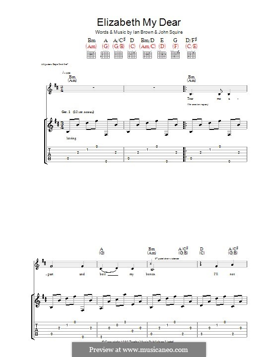 Elizabeth My Dear (The Stone Roses): For guitar with tab by Ian Brown, John Squire