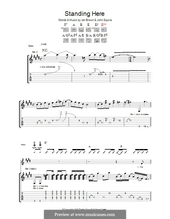 Standing Here (The Stone Roses): For guitar with tab by Ian Brown, John Squire