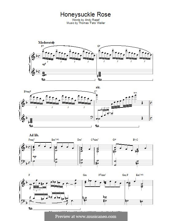 Honeysuckle Rose: For piano by Fats Waller
