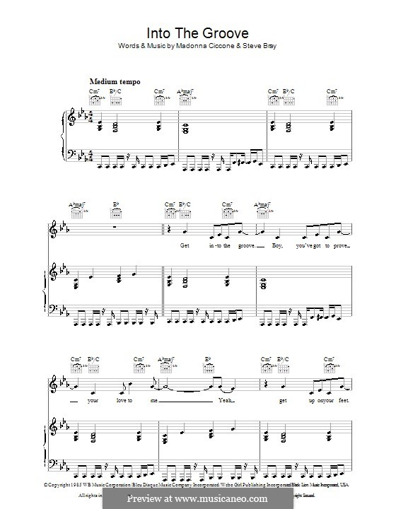 Into the Groove (Madonna): For voice and piano (or guitar) by Stephen Bray
