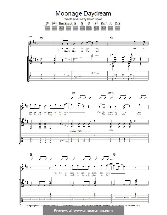 Moonage Daydream by D. Bowie - sheet music on MusicaNeo