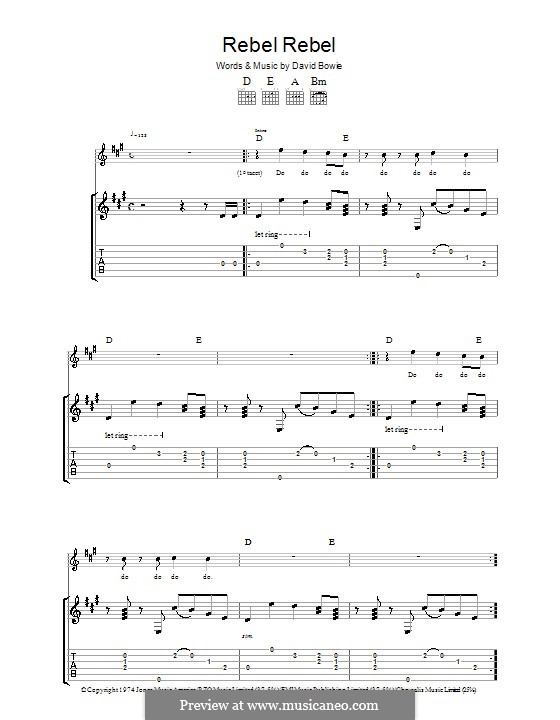 Rebel Rebel: For guitar with tabulature by David Bowie