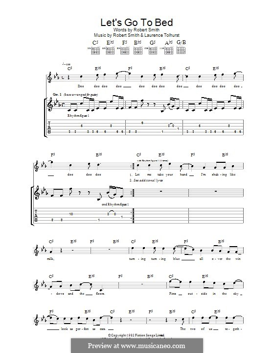Let's Go To Bed (The Cure): For guitar with tab by Laurence Tolhurst, Robert Gary Smith